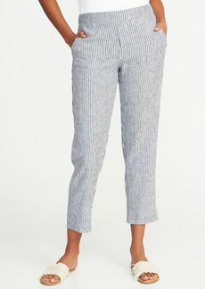 Old Navy Mid-Rise Pull-On Striped Linen-Blend Pants for Women