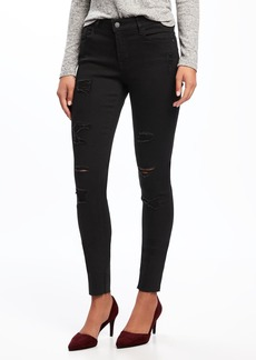 Mid-Rise Raw-Edge Rockstar Jeans for Women