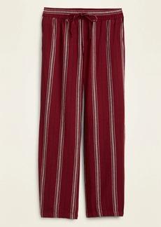 Old Navy Mid-Rise Striped Linen-Blend Wide-Leg Pants for Women