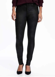 Mid-Rise Sueded Leather-Like Rockstar Jeans for Women