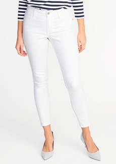 Mid-Rise Super Skinny White Ankle Jeans for Women