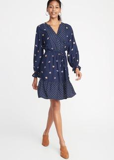 Old Navy Mixed-Print Waist-Defined Shirt Dress for Women