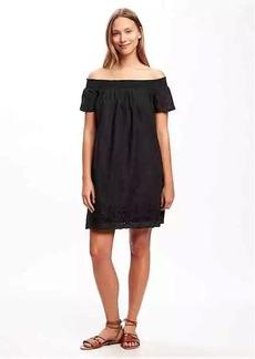 Off-Shoulder Eyelet Shift Dress for Women