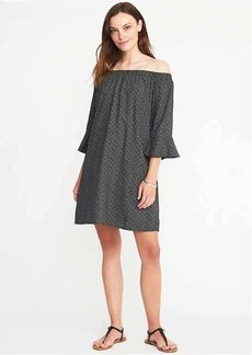 Off-the-Shoulder Bell-Sleeve Shift Dress for Women