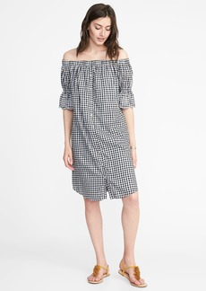 Old Navy Off-the-Shoulder Button-Front Gingham Dress for Women