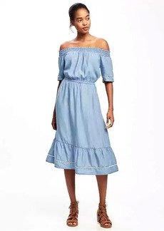 Off-the-Shoulder Chambray Tencel&#174 Dress for Women