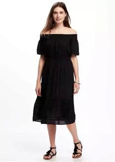 Off-the-Shoulder Crinkle-Gauze Dress for Women