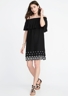 Old Navy Off-the-Shoulder Cutwork-Hem Linen-Blend Shift Dress for Women