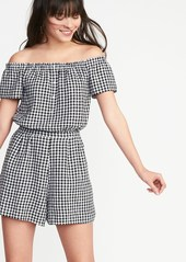 f03e5493854 On Sale today! Old Navy Off-the-Shoulder Gingham Romper for Women