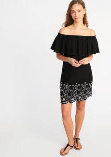 Off-the-Shoulder Linen-Blend Cutwork Shift Dress for Women