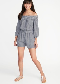 Old Navy Off-the-Shoulder Linen-Blend Romper for Women
