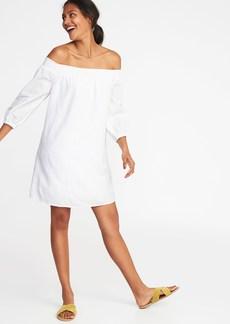 Off-the-Shoulder Smocked Shift Dress for Women