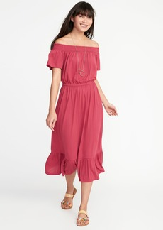 Old Navy Off-the-Shoulder Waist-Defined Midi Dress for Women