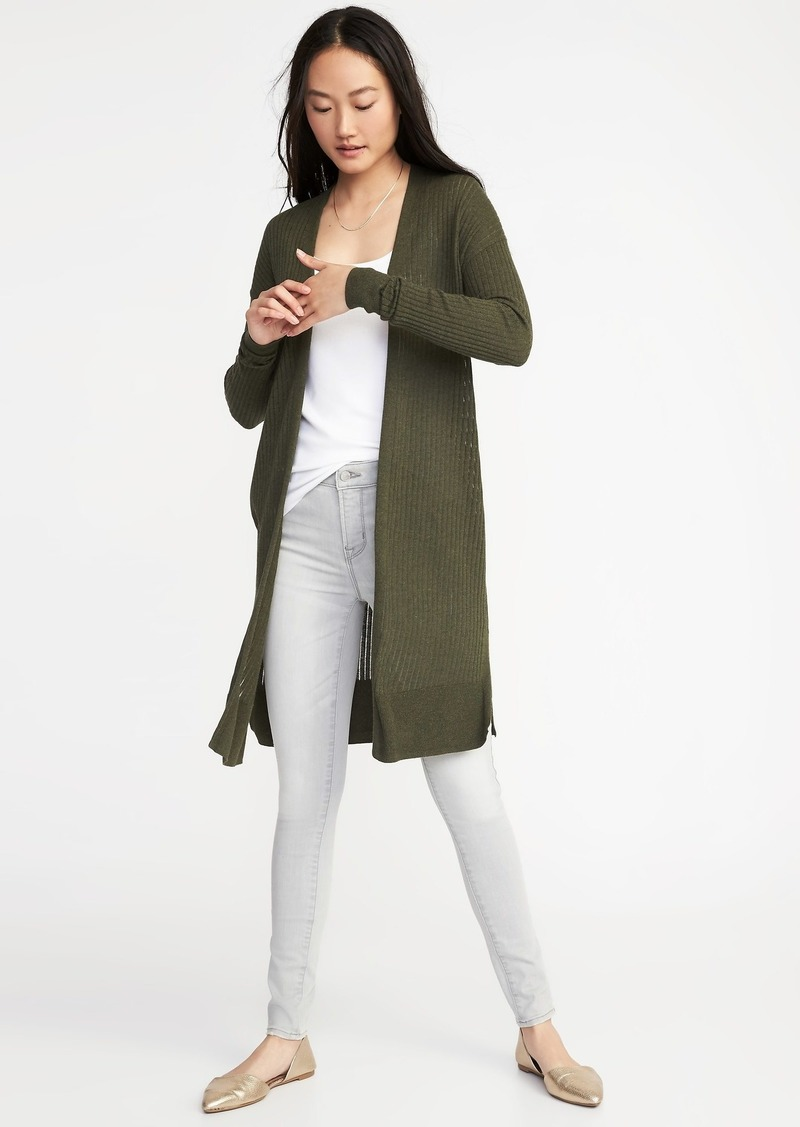 Old Navy Rib-Knit Super-Long Open-Front Sweater for Women Now  24.97 98a6b7bec