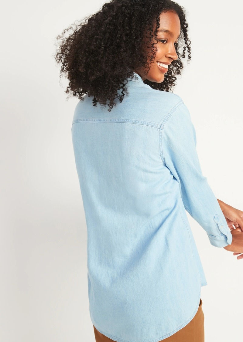 Oversized Boyfriend Tunic Jean Shirt for Women