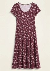 Old Navy Patterned Jersey Fit & Flare Midi Dress for Women
