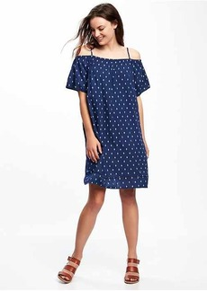 Patterned Off-the-Shoulder Shift Dress for Women
