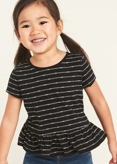 Old Navy Patterned Peplum-Hem Jersey Top for Toddler Girls