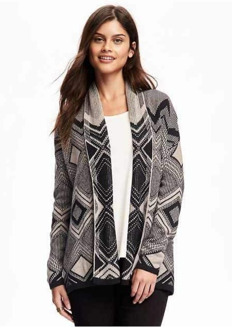 Old Navy Patterned Shawl-Collar Open-Front Cardi for Women