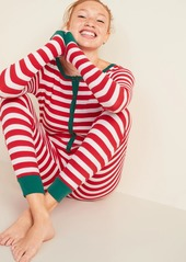 Old Navy Patterned Waffle-Knit One-Piece Pajamas for Women