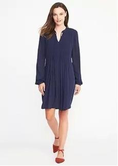Pintucked Crepe Swing Dress for Women