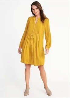 Pintucked Crepe Swing Dress for Women