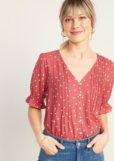 Old Navy Pintucked V-Neck Button-Front Linen-Blend Blouse for Women