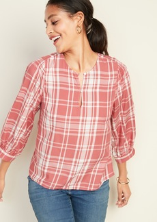 Old Navy Plaid Balloon-Sleeve Blouse for Women