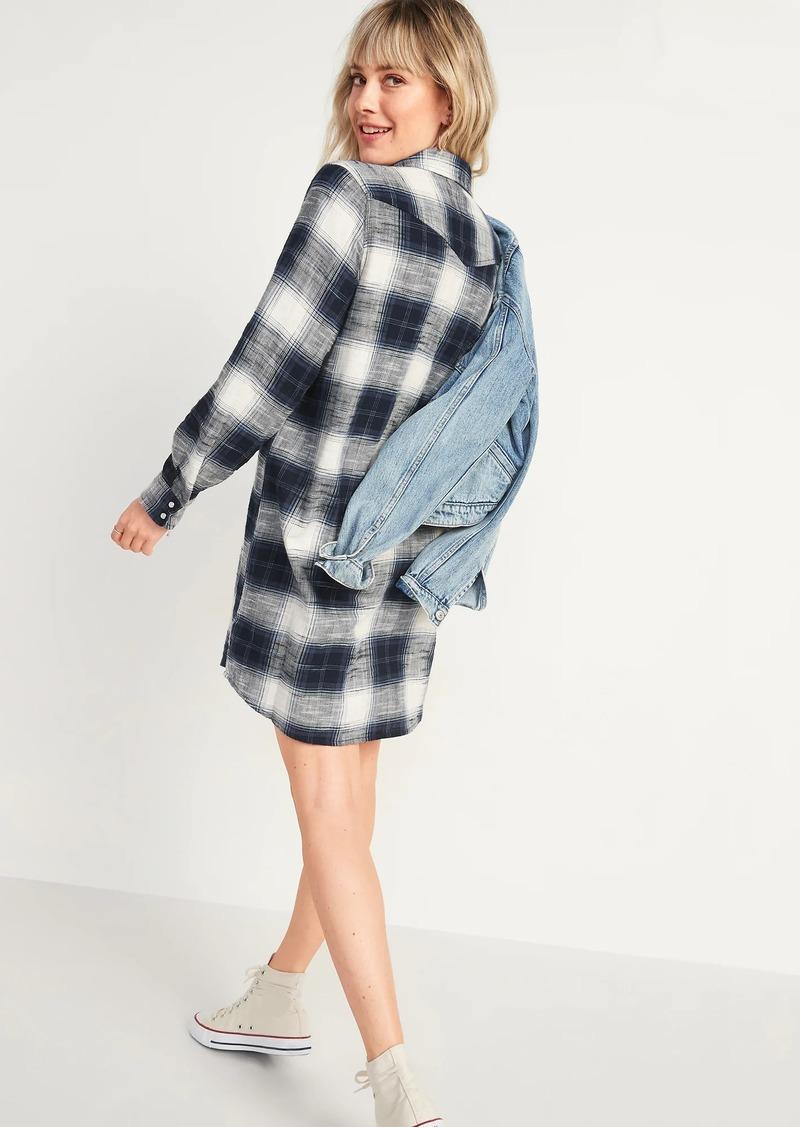 Old Navy Flannel Western Shirt Shift Dress for Women