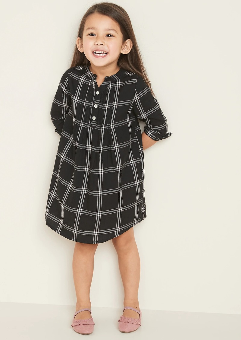 Old Navy Plaid Pintuck A-Line Shirt Dress for Toddler Girls