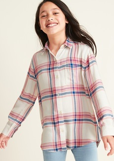 Old Navy Plaid Super-Soft Twill Tunic Shirt For Girls