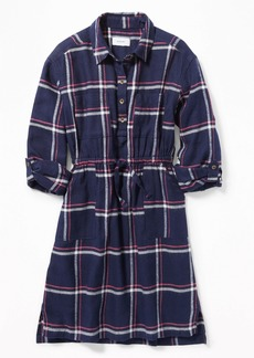 Old Navy Plaid Waist-Defined Twill Shirt Dress for Girls