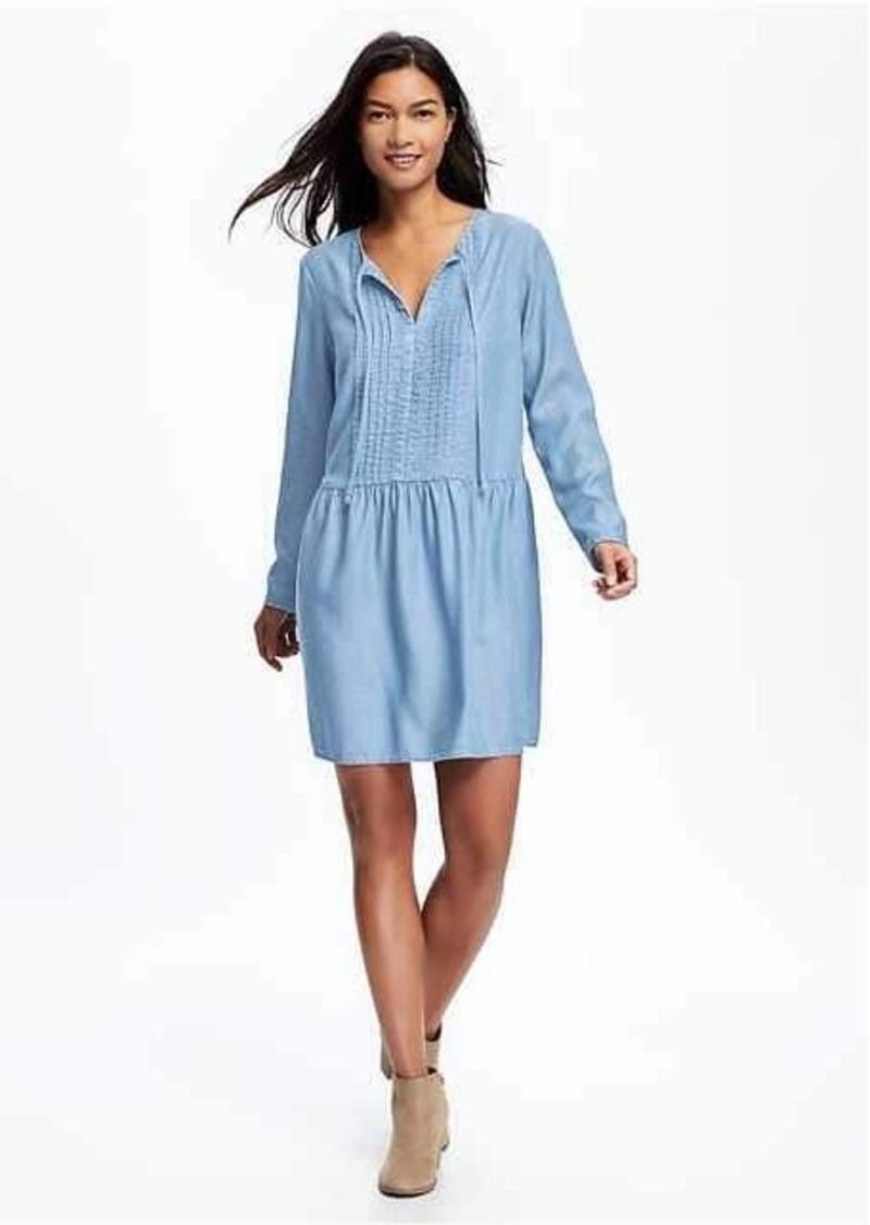 532fa3e5927 Old Navy Pleated Tie-Neck Swing Dress for Women