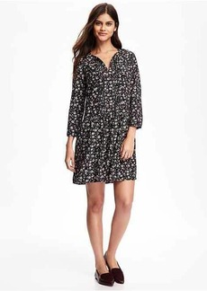 Old Navy Pleated Tie-Neck Swing Dress for Women