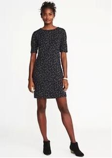 Ponte-Knit Leopard-Print Shift Dress for Women