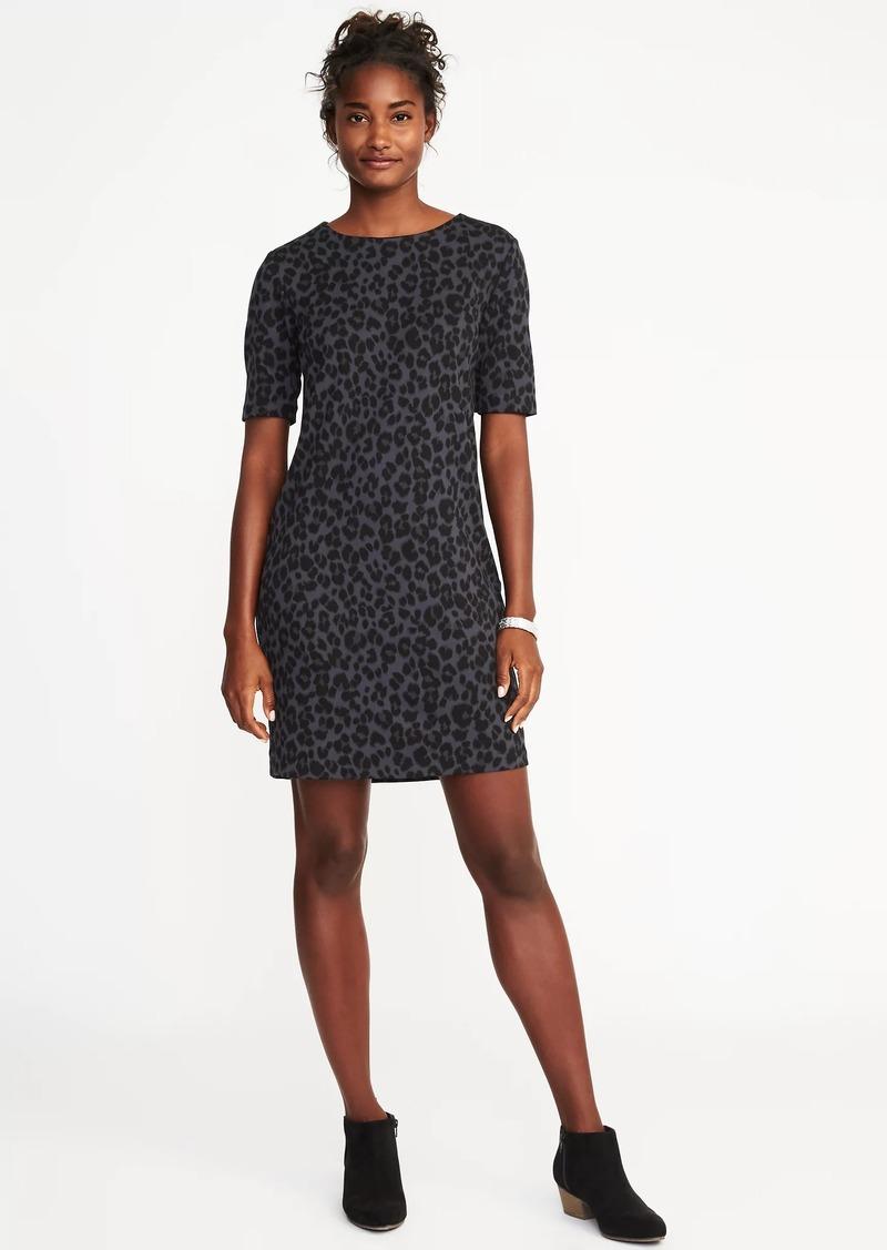 99fbb29c8d7c SALE! Old Navy Ponte-Knit Leopard-Print Shift Dress for Women