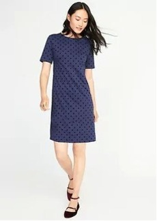 Ponte-Knit Polka-Dot Shift Dress for Women