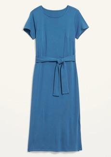 Old Navy Ponte-Knit Tie-Belt Midi Sheath Dress for Women