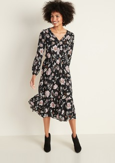 Old Navy Printed Button-Front Waist-Defined Midi Dress for Women