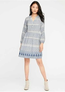 Printed Henley Swing Dress for Women