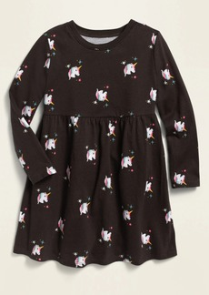 Old Navy Printed Jersey Fit & Flare Long-Sleeve Dress for Toddler Girls