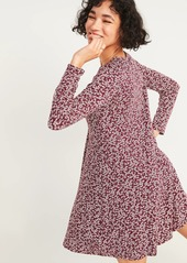 Old Navy Printed Jersey-Knit Long-Sleeve Swing Dress