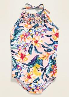 Old Navy Printed Macrame-Trim Halter Swimsuit for Girls