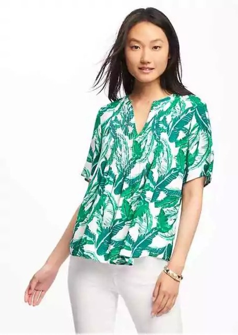 2e3aa7fcc595f Old Navy Printed Pintuck Swing Blouse for Women