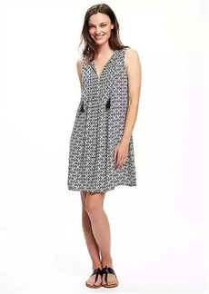 Printed Pintuck Swing Dress for Women