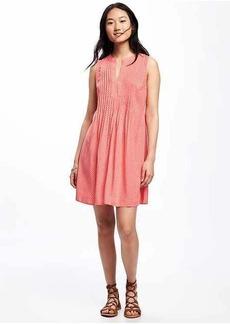 Printed Pintuck Swing Dress for Women