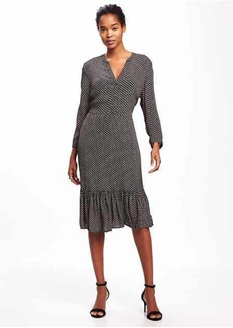 Old Navy Printed Ruffle-Hem Shirt Dress for Women