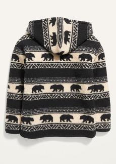 Old Navy Gender-Neutral Printed Sherpa 1/2-Zip Pullover Hoodie for Kids