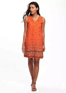 Printed Tassel Shift Dress for Women