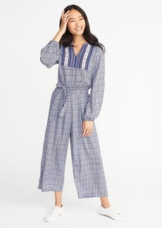 Old Navy Printed Tie-Waist Jumpsuit for Women
